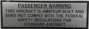 PASSENGER WARNING / AMATEUR BUILT  Decal